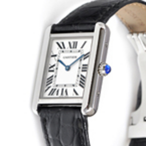 Replica Cartier Tank Solo musta nahka Ladies Watch W1018255