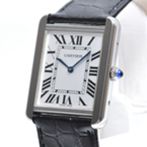 Replica Cartier Tank Solo Black Leather Mens Watch W1018355